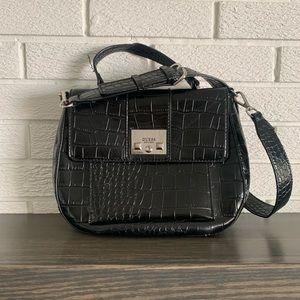 GUESS black textured satchel